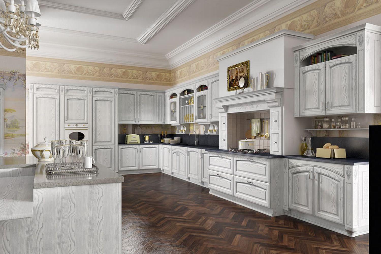 Дизайн классической кухни в белом цвете фото